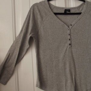 Cynthia Rowley Gray Thermal Tee Shirt Medium